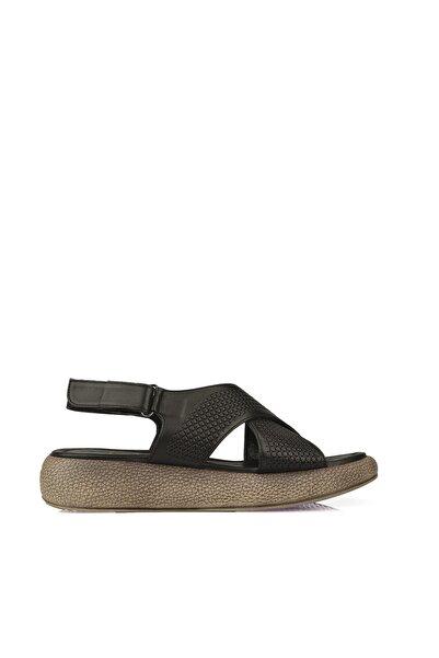 Ziya Kadın Hakiki Deri Sandalet 101353 6025 SIYAH