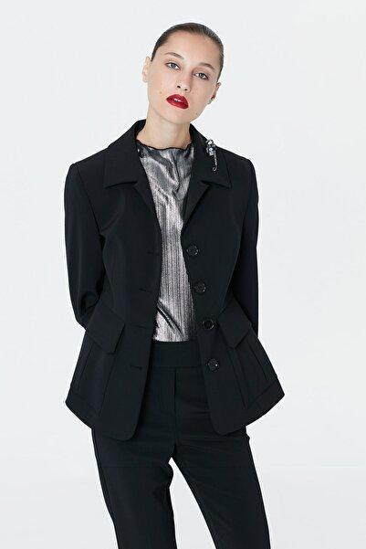 Kadın Siyah Bel Vurgulu Ceket IW6190005074001