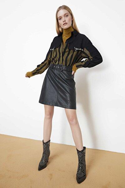 Kadın Siyah Kemerli Mini Etek IW6190004119001