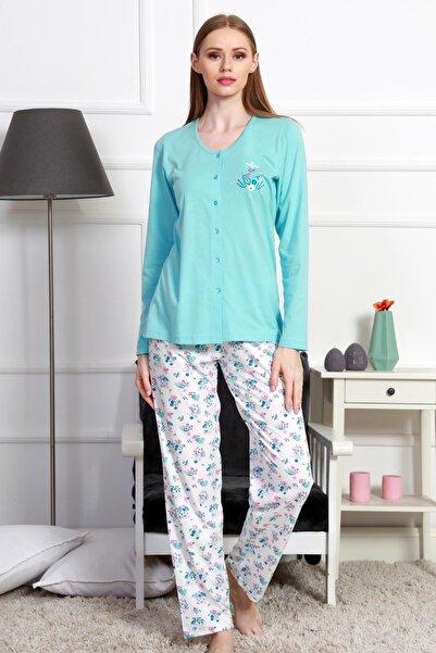 Y-London Kadın Mercan Uzun Kollu Tişört Pantolon Pijama Takımı