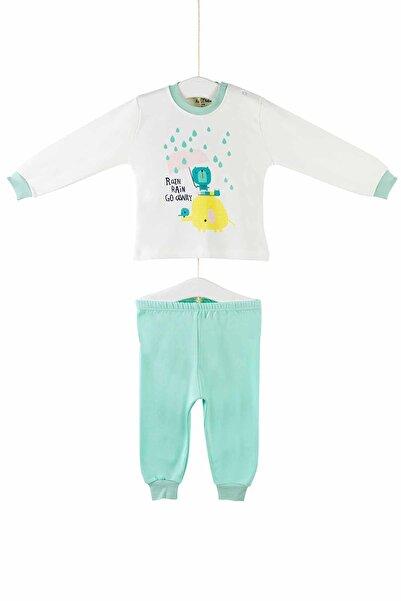 Aziz Bebe 9417 Kız Bebek Yağmur Baskılı Pijama Takımı
