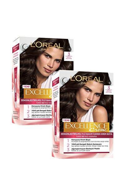 Excellence Creme Saç Boyası 3 Koyu Kestane - 2'li Set 86905953570342