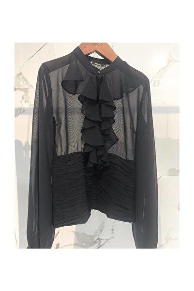 Lefon Lefon siyah fırfır detaylı bluz