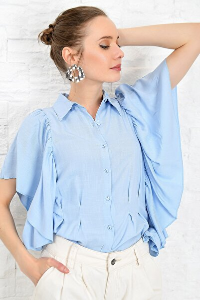 Kadın Mavi Volanlı Dokuma Gömlek DNZ-3158