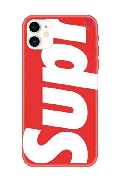 Wolf Dizayn Iphone 11 Supreme Kırmızı Silikon Kılıf