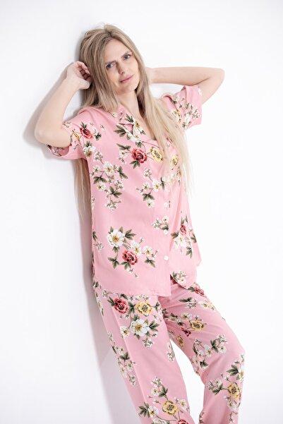 Pijama Denizi Kadın Kısa Kollu Gömlek Yaka Pijama Takımı Dokuma Pembe Çiçek