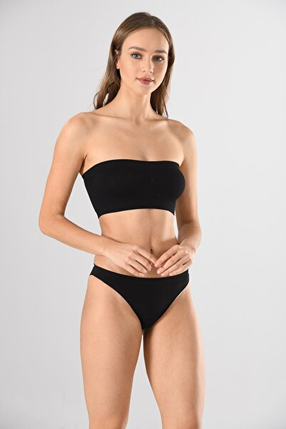 Miss Fit Straples 1401 Siyah Örme Seamless Dikişsiz Basic Kadın Büstiyer