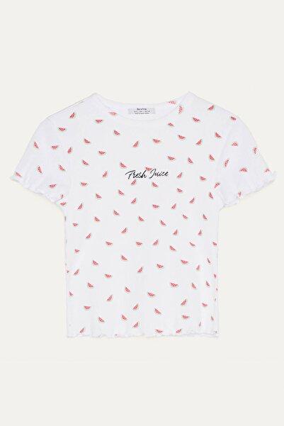 Bershka Kadın Kırmızı Dokulu Desenli T-Shirt 02199660