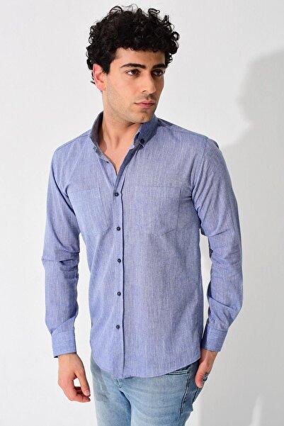 Erkek Koyu Mavi Uzun Kollu Düz Melanj Keten Çift Cepli Normal Fit Gömlek 0YEGMTN0930