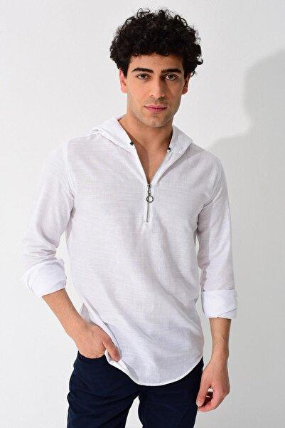 Erkek Beyaz Uzun Kollu Kapüşonlu Keten Slim Fit Gömlek 0YEG11-2214