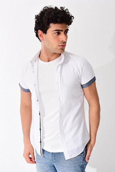 Erkek Beyaz Kısa Kollu Slim Fit Keten Gömlek 0YEG11-1873