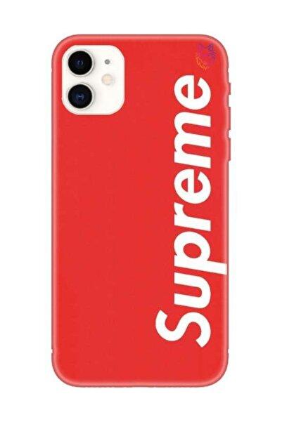 Wolf Dizayn Iphone 11 - Kırmızı Silikon Kılıf - Supreme 5