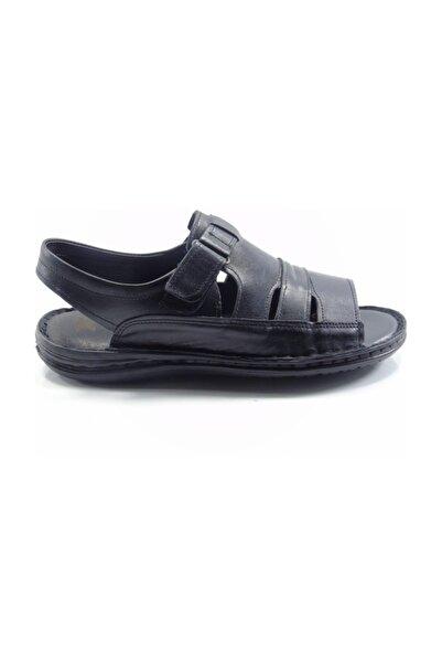 Venuma Siyah Deri Anatomik Erkek Sandalet 0470