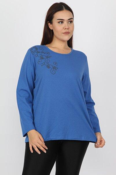 Şans Kadın Saks Pamuklu Kumaş Çiçek Baskılı Bluz 65N15568