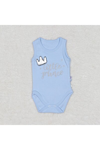 Bebe Prens Taç Broşlu Çıtçıtlı Badi Zıbın Mavi