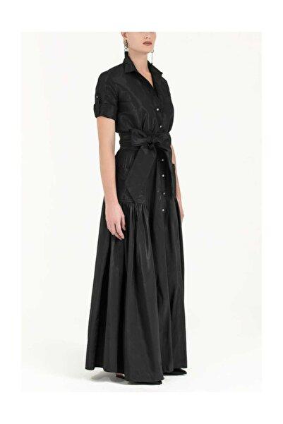 SOCIETA Büzgülü Gömlek Elbise Siyah