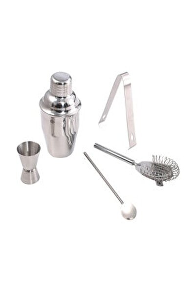 Profesyonel Shaker Kokteyl Set 5 Parça Paslanmaz Çelik Shaker Set