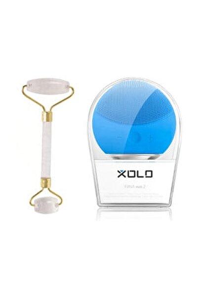 Şarj Edilebilir Mavi Yüz Temizleme Cihazı + Jade Roller Beyaz 2'li Yeşim Taşı Masaj Aleti