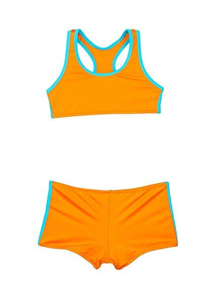 Bombi Kız Çocuk Oranj Yüzücü Bikini