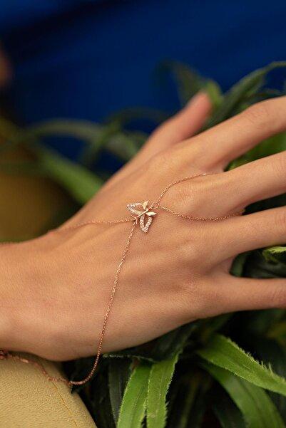 İzla Design Kadın Kelebek Model Rose Kaplama Gümüş İtalyan Şahmeran PKT-TLYSLVR0205