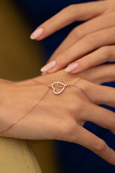 İzla Design Kadın Çift Kalp Model Rose Kaplama Gümüş İtalyan Şahmeran PKT-TLYSLVR0204