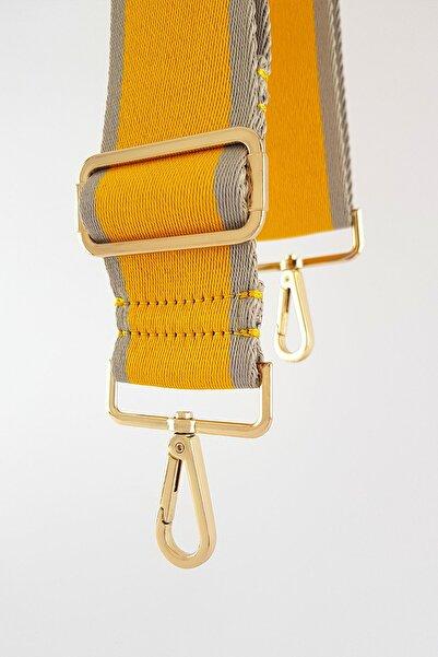 FAEN Sarı Shams Dokuma Çanta Askısı Gold Metal