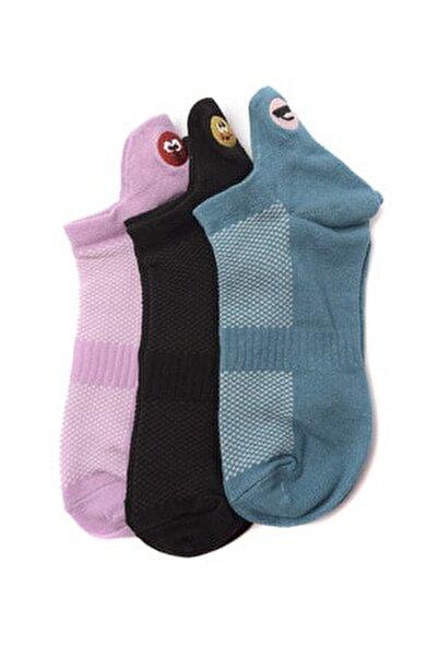 Çok Renkli 3'lü Emoji Nakışlı Örme Çorap TWOSS20CO0049