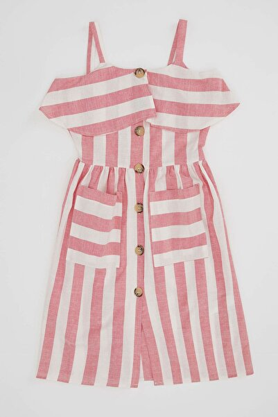 Askılı Fırfırlı Çizgili Düğmeli Elbise