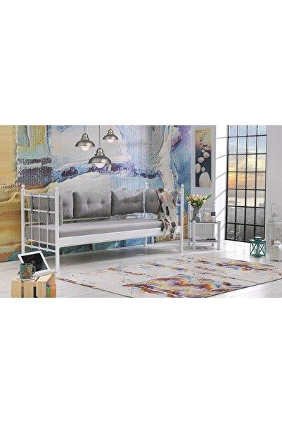 Unimet Lalas Metal Sofa 90 x 200 Beyaz-Füme Minder