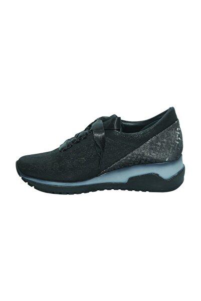 D20ya510 Siyah Simli Deri Casual Kadın Ayakkabı