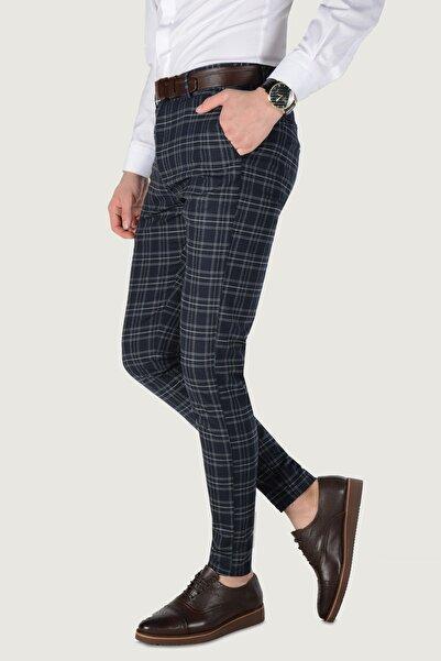 Terapi Men Erkek Ekoseli Slim Fit Keten Pantolon 20K-2200233 Lacivert