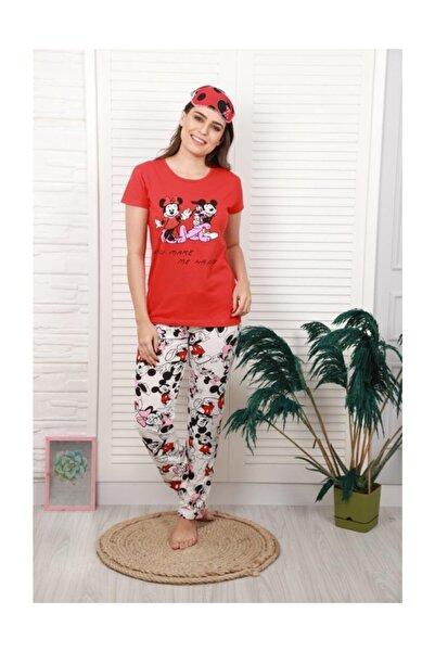 Kadın Mickey Mouse Ve Minnie Mouse Baskılı Pijama Takımı