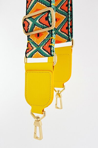 FAEN Bahareh Sarı Kare Uç Detaylı Etnik Desenli Çanta Askısı Gold Metal