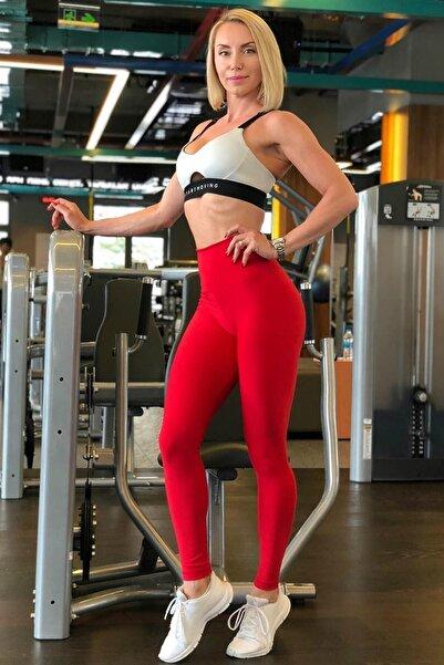 Kadın Kırmızı Toparlayıcı Ekstra Yüksek Bel Spor Tayt(12 Renk) Stk25