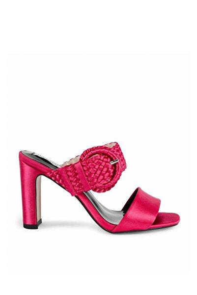 Kadın Pembe Hasır Örme Topuklu Sandalet IS1200031014033
