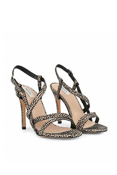 Kadın Leopar İnce Bantlı Topuklu Sandalet IS1200031009CD4