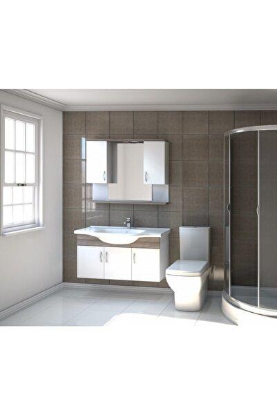 Kare Banyo Kare Akyazı Serisi 100 cm Mdf Banyo Dolabı Takımı+seramik Lavabo