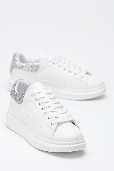 Beyaz Gümüş Taşlı Kadın Sneaker 500