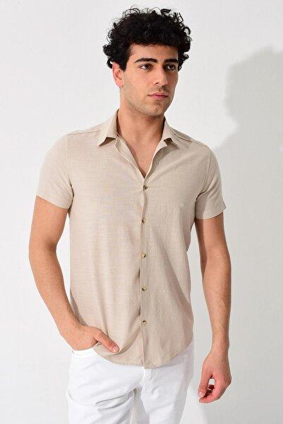 Erkek Taş Kısa Kollu Apaş Yaka Regular Keten Gömlek 0YEG12-2179
