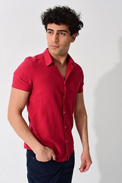 Erkek Bordo Kısa Kollu Apaş Yaka Regular Keten Gömlek 0YEG12-2179