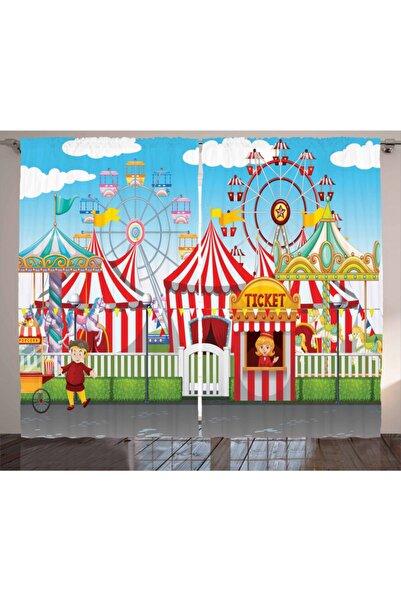 Orange Venue Çocuklar Için Perde Rengarenk Sirk Oyun Alanı Desenli