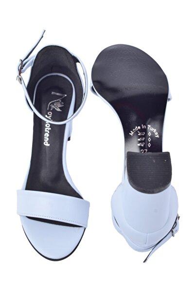 Ayakland Kadın Açık Mavi Topuklu Sandalet 7 cm