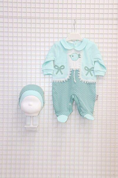 Nakış Işlemeli Yelek Görünümlü Kız Bebek Tulumu Turkuaz