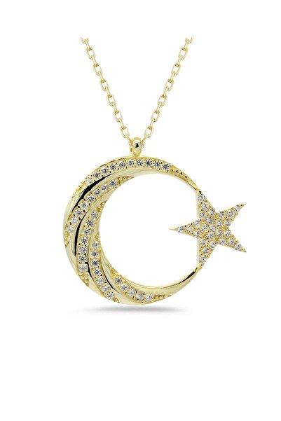Else Silver 925 Ayar Gümüş Ay Yıldız Kolye