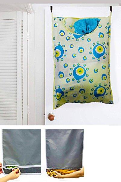 Helen's Home Kirli Çamaşır Torbası Fermuarlı Kapı Arkası Bez Kirli Sepeti