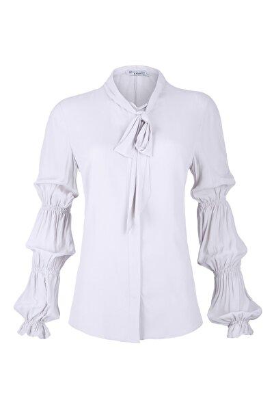 Silk and Cashmere Kadın Açık Mavi Infinity Bağlamalı Uzun Kollu Gömlek B202F348003