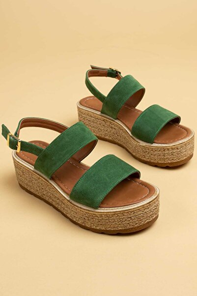 Deery Hakiki Süet Yeşil Kadın Sandalet