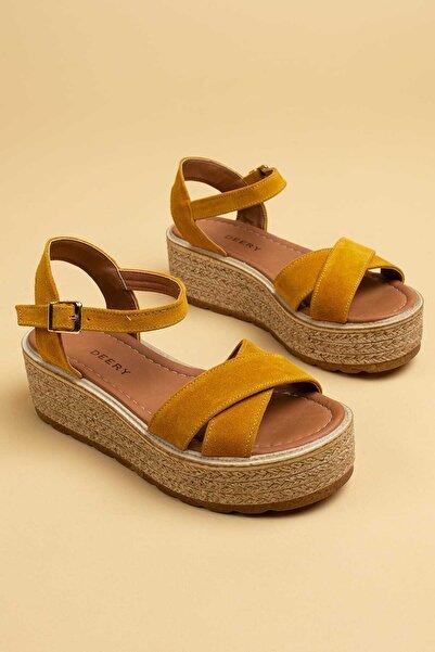 Deery Hakiki Süet Sarı Kadın Sandalet