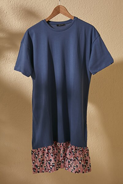 TRENDYOLMİLLA Lacivert Dokuma Detaylı Örme Elbise TWOSS20EL2286