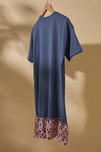 Lacivert Dokuma Detaylı Örme Elbise TWOSS20EL2286